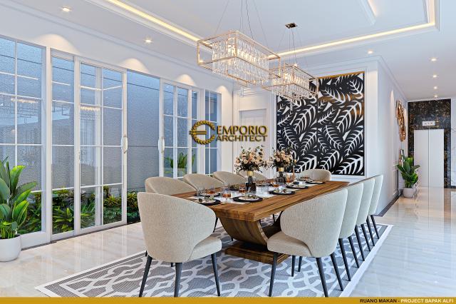 Desain Ruang Makan Rumah Klasik 2 Lantai Bapak Alfi di Bekasi