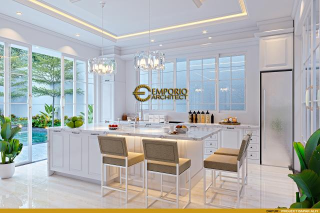 Desain Dapur Rumah Klasik 2 Lantai Bapak Alfi di Bekasi