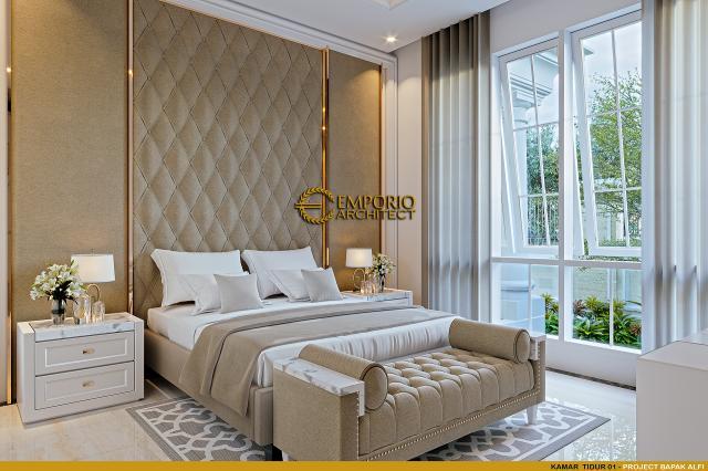 Desain Kamar Tidur 1 Rumah Klasik 2 Lantai Bapak Alfi di Bekasi