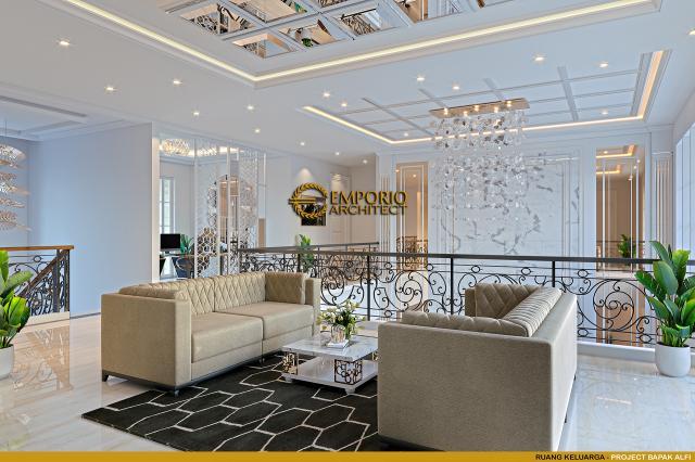 Desain Ruang Keluarga Rumah Klasik 2 Lantai Bapak Alfi di Bekasi