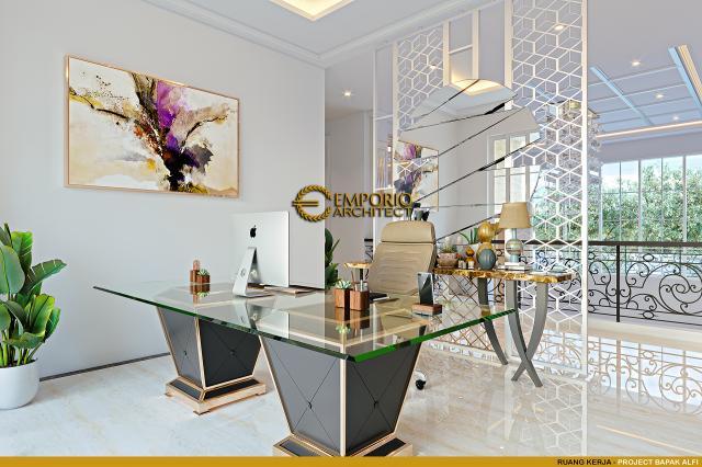 Desain Ruang Kerja Rumah Klasik 2 Lantai Bapak Alfi di Bekasi