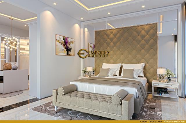 Desain Kamar Tidur Utama Rumah Klasik 2 Lantai Bapak Alfi di Bekasi