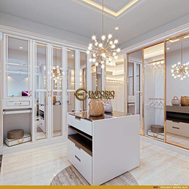 Desain Walk In Closet Rumah Klasik 2 Lantai Bapak Alfi di Bekasi