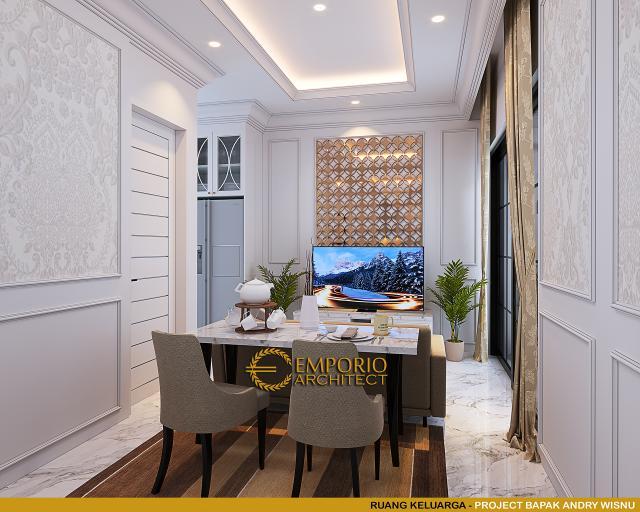 Desain Ruang Keluarga Rumah Klasik 2 Lantai Bapak Andry Wisnu di Jakarta