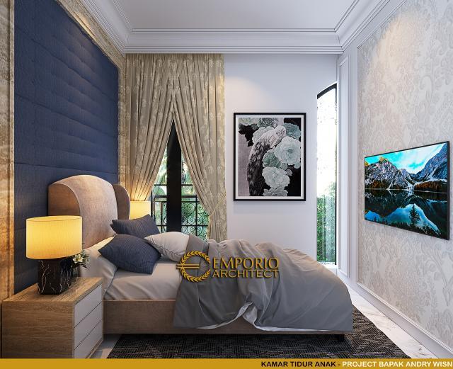 Desain Kamar Tidur Anak Rumah Klasik 2 Lantai Bapak Andry Wisnu di Jakarta