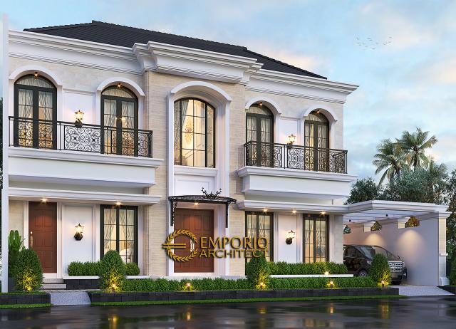 Desain Rumah Klasik 2 Lantai Bapak Andry Wisnu di Jakarta - Tampak Depan