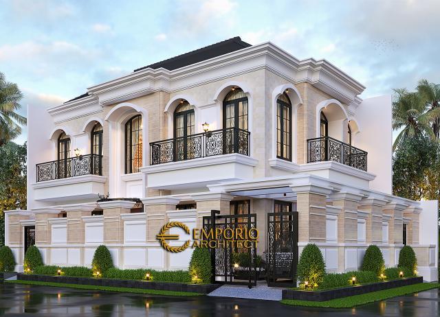 Desain Tampak Hook Dengan Pagar Rumah Klasik 2 Lantai Bapak Andry Wisnu di Jakarta