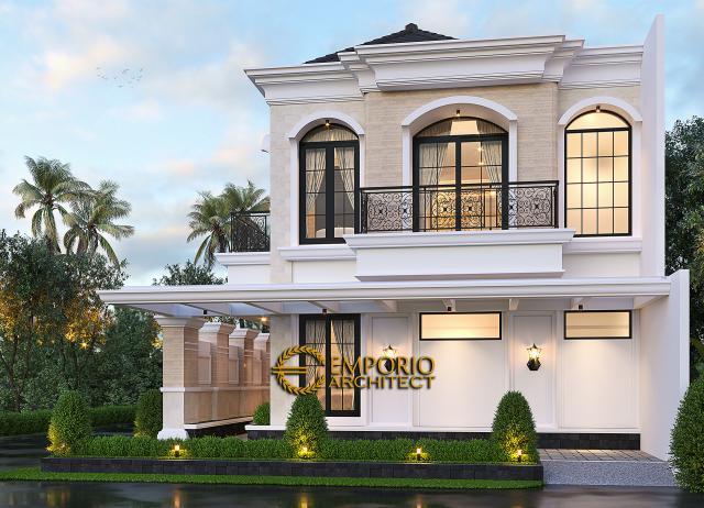 Desain Tampak Samping Rumah Klasik 2 Lantai Bapak Andry Wisnu di Jakarta