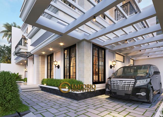 Desain Tampak Detail Depan Rumah Klasik 2 Lantai Bapak Andry Wisnu di Jakarta