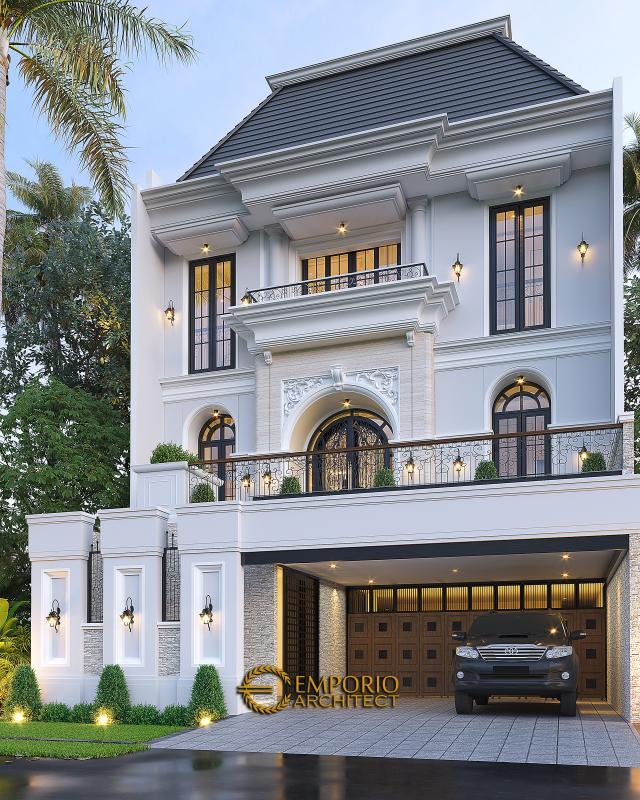 Desain Rumah Klasik 2.5 Lantai Bapak Sugih di Jakarta - Tampak Depan