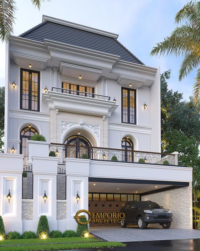 Desain Tampak Depan 2 Rumah Klasik 2.5 Lantai Bapak Sugih di Jakarta