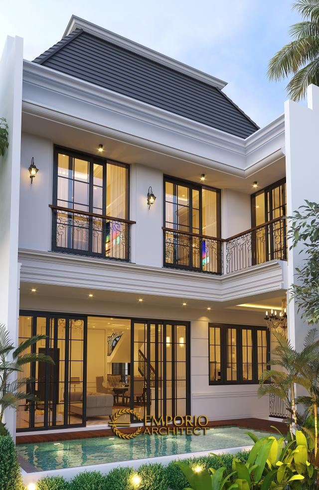 Desain Tampak Belakang Rumah Klasik 2.5 Lantai Bapak Sugih di Jakarta