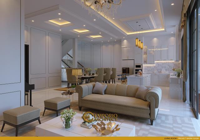 Desain Ruang Keluarga Rumah Klasik 2.5 Lantai Bapak Sugih di Jakarta