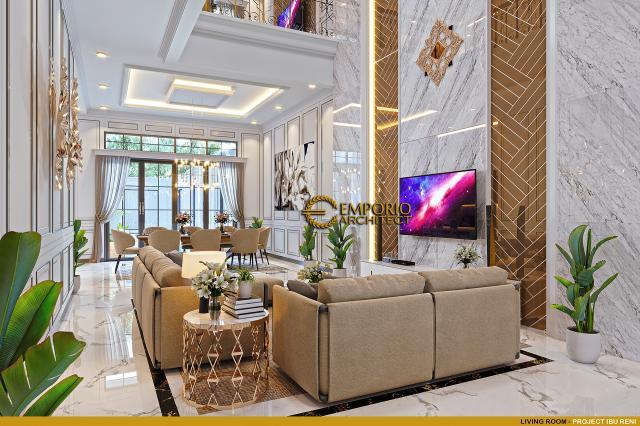 Desain Ruang Keluarga Rumah Klasik 3 Lantai Ibu Reni di Jakarta Barat