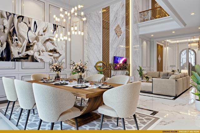 Desain Ruang Makan Rumah Klasik 3 Lantai Ibu Reni di Jakarta Barat