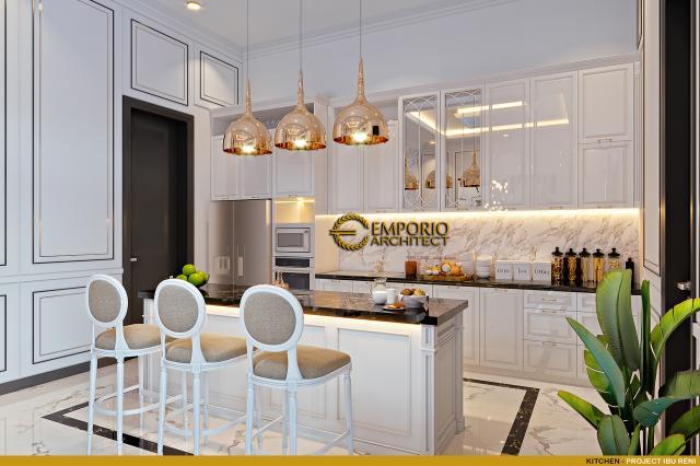 Desain Dapur Rumah Klasik 3 Lantai Ibu Reni di Jakarta Barat