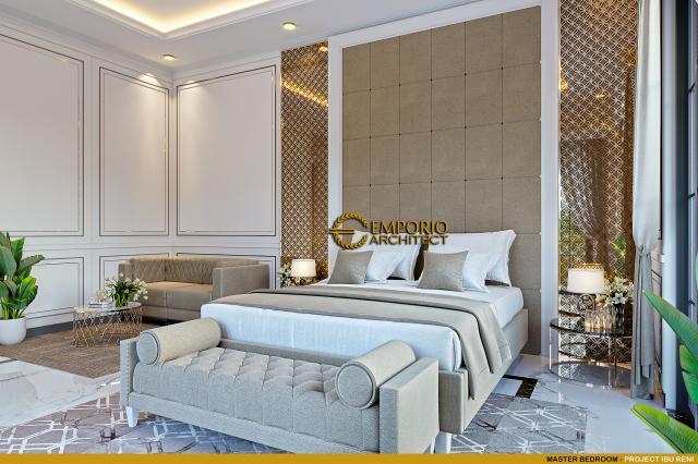 Desain Kamar Tidur Utama Rumah Klasik 3 Lantai Ibu Reni di Jakarta Barat