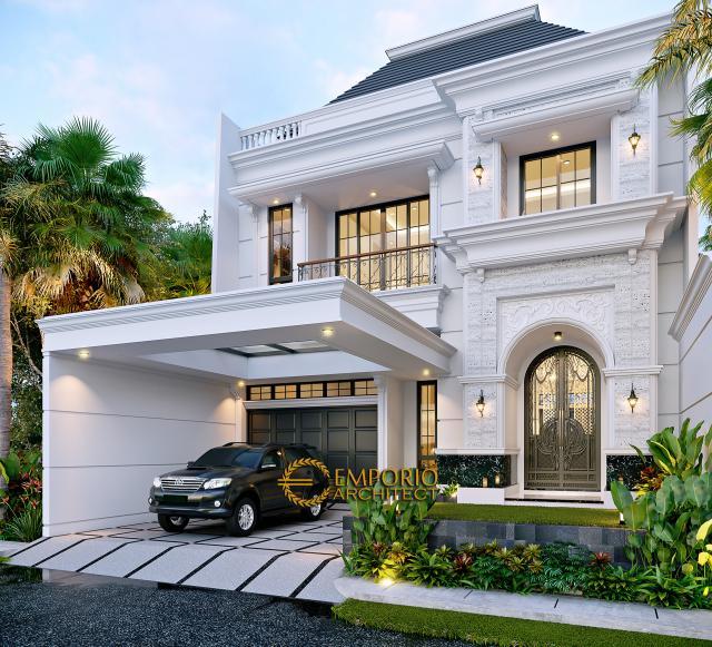Desain Rumah Klasik 3 Lantai Ibu Reni di Jakarta Barat - Tampak Depan