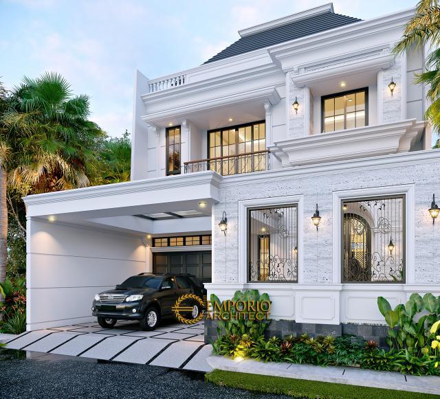 Desain Tampak Depan Dengan Pagar Rumah Klasik 3 Lantai Ibu Reni di Jakarta Barat