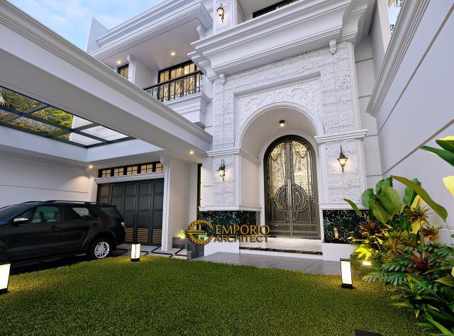 Desain Tampak Detail Depan Rumah Klasik 3 Lantai Ibu Reni di Jakarta Barat