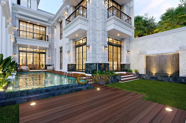 Desain Tampak Detail Belakang Rumah Klasik 3 Lantai Ibu Reni di Jakarta Barat