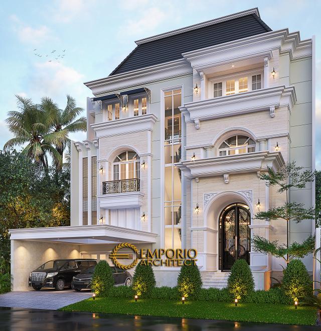 Desain Rumah Klasik 3.5 Lantai Ibu Leni di Jakarta - Tampak Depan Tanpa Pagar