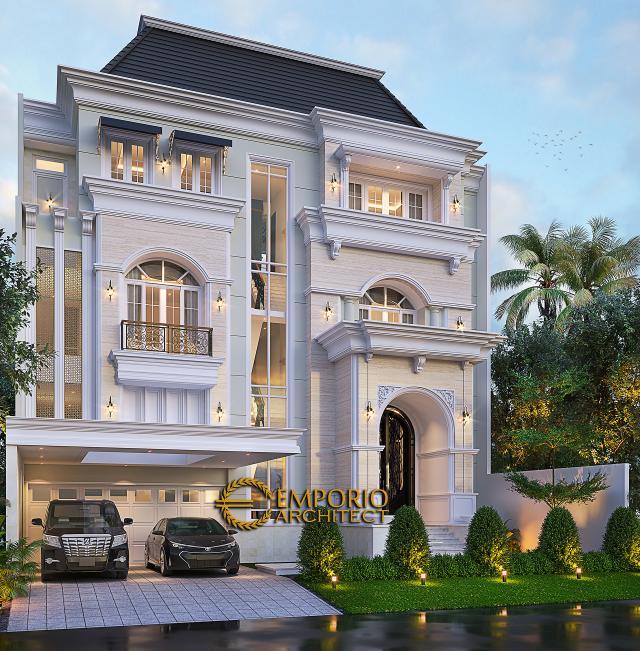 Desain Tampak Depan Tanpa Pagar 2 Rumah Klasik 3.5 Lantai Ibu Leni di Jakarta