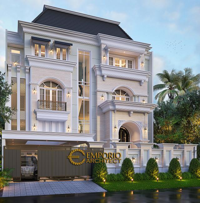 Desain Tampak Depan Dengan Pagar Rumah Klasik 3.5 Lantai Ibu Leni di Jakarta