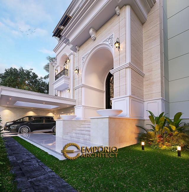 Desain Tampak Detail Depan Rumah Klasik 3.5 Lantai Ibu Leni di Jakarta