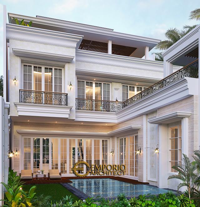 Desain Tampak Belakang Rumah Klasik 3.5 Lantai Ibu Leni di Jakarta