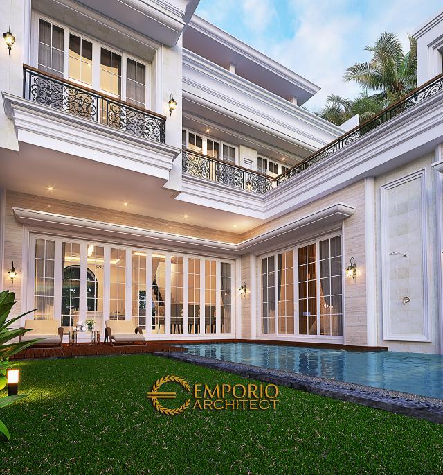Desain Tampak Detail Belakang Rumah Klasik 3.5 Lantai Ibu Leni di Jakarta