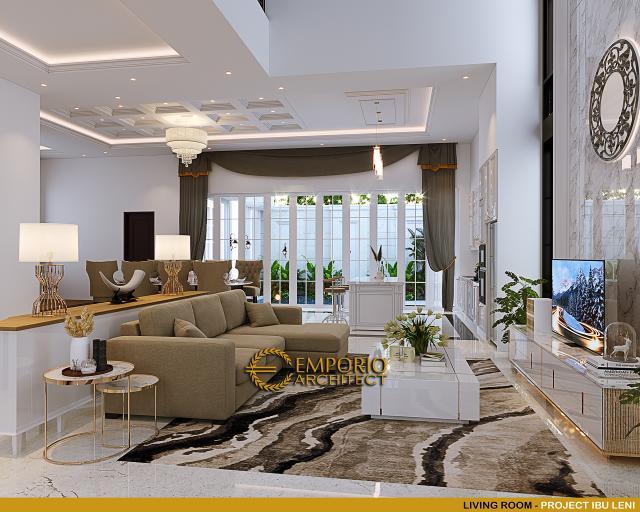 Desain Ruang Keluarga Rumah Klasik 3.5 Lantai Ibu Leni di Jakarta