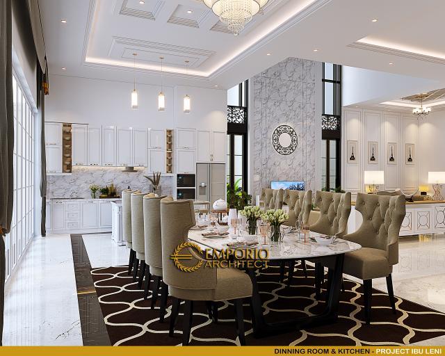 Desain Ruang Makan dan Dapur Rumah Klasik 3.5 Lantai Ibu Leni di Jakarta