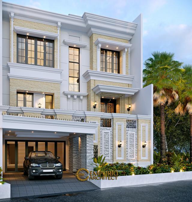Desain Rumah Klasik 3.5 Lantai Bapak Yanto di Jakarta - Tampak Depan