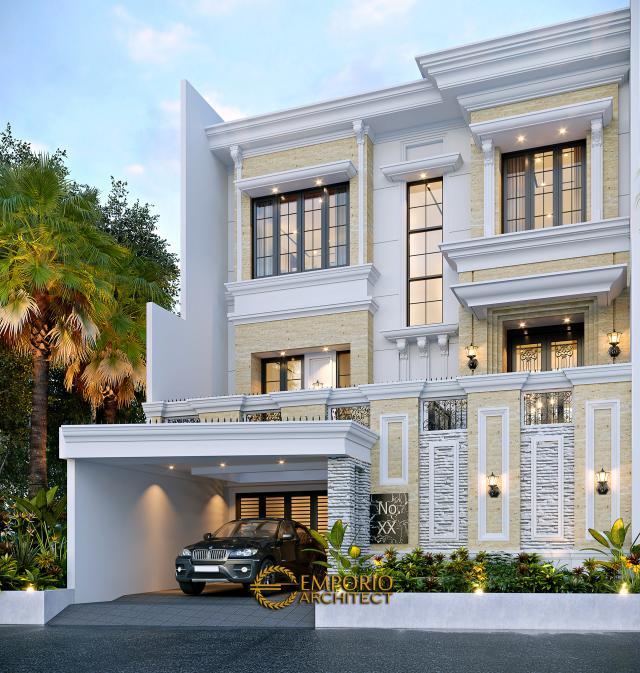 Desain Tampak Depan 2 Rumah Klasik 3.5 Lantai Bapak Yanto di Jakarta