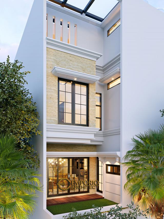 Desain Tampak Belakang Rumah Klasik 3.5 Lantai Bapak Yanto di Jakarta