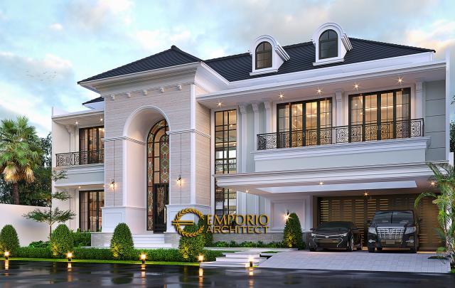 Desain Rumah Klasik Mediteran 2 Lantai Bapak Martua Sinaga di Jakarta - Tampak Depan Tanpa Pagar