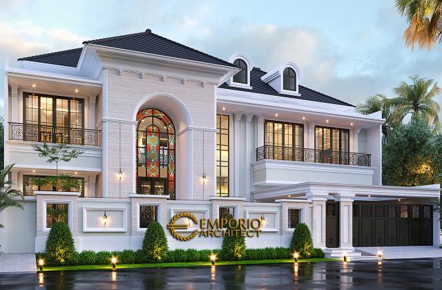 Desain Tampak Depan Dengan Pagar Rumah Klasik Mediteran 2 Lantai Bapak Martua Sinaga di Jakarta