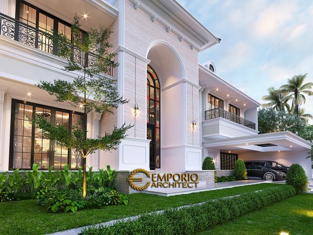 Desain Tampak Detail Depan Rumah Klasik Mediteran 2 Lantai Bapak Martua Sinaga di Jakarta