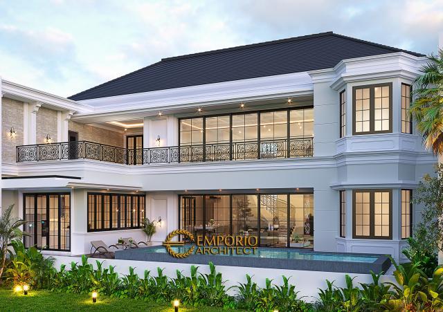 Desain Tampak Belakang Rumah Klasik Mediteran 2 Lantai Bapak Martua Sinaga di Jakarta