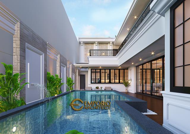 Desain Tampak Detail Belakang Rumah Klasik Mediteran 2 Lantai Bapak Martua Sinaga di Jakarta