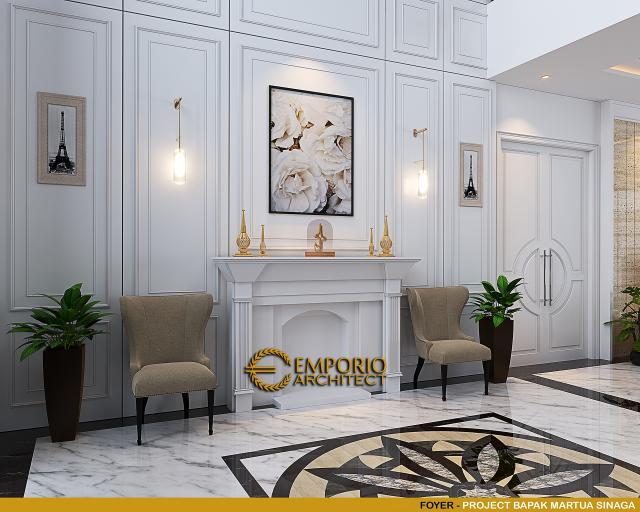Desain Foyer Rumah Klasik Mediteran 2 Lantai Bapak Martua Sinaga di Jakarta