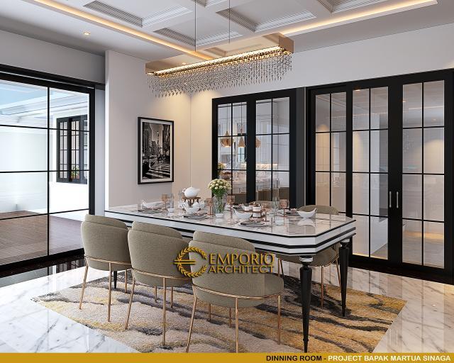 Desain Ruang Makan Rumah Klasik Mediteran 2 Lantai Bapak Martua Sinaga di Jakarta