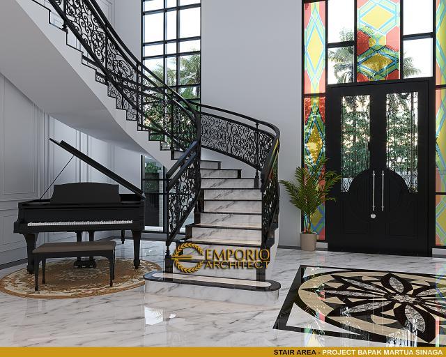 Desain Area Tangga Rumah Klasik Mediteran 2 Lantai Bapak Martua Sinaga di Jakarta