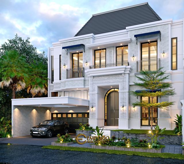 Desain Rumah Klasik Modern 2.5 Lantai Bapak Andry Sinaga di Jakarta - Tampak Depan