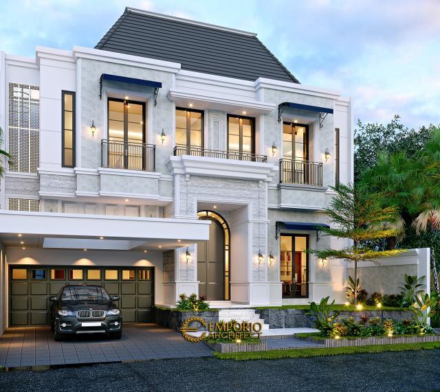 Desain Tampak Depan 2 Rumah Klasik Modern 2.5 Lantai Bapak Andry Sinaga di Jakarta