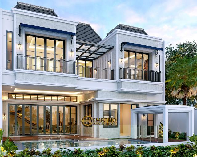 Desain Tampak Belakang Rumah Klasik Modern 2.5 Lantai Bapak Andry Sinaga di Jakarta