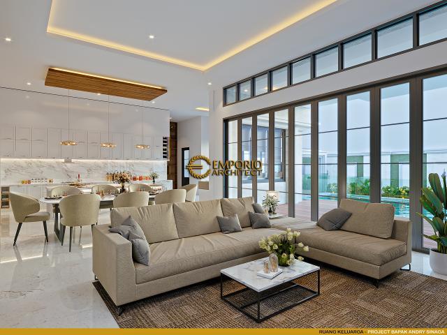 Desain Ruang Keluarga Rumah Klasik Modern 2.5 Lantai Bapak Andry Sinaga di Jakarta
