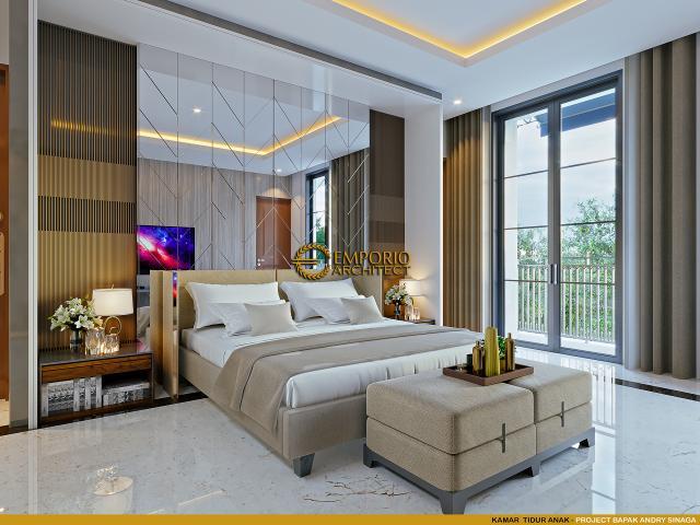 Desain Kamar Tidur Anak Rumah Klasik Modern 2.5 Lantai Bapak Andry Sinaga di Jakarta