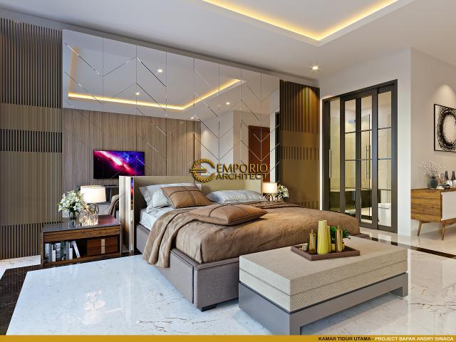 Desain Kamar Tidur Utama Rumah Klasik Modern 2.5 Lantai Bapak Andry Sinaga di Jakarta